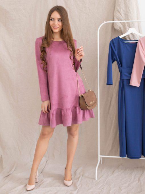 Сиреневое замшевое платье для беременных и кормящих Ketty