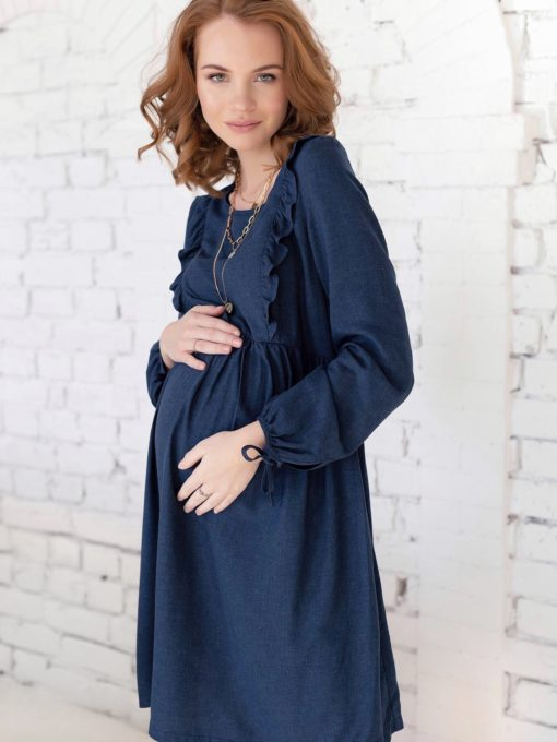 Синее платье для будущих и кормящих мам Kris
