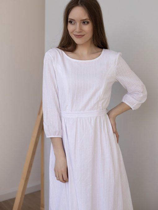 Белое платье для беременных и кормящих мам Amabel