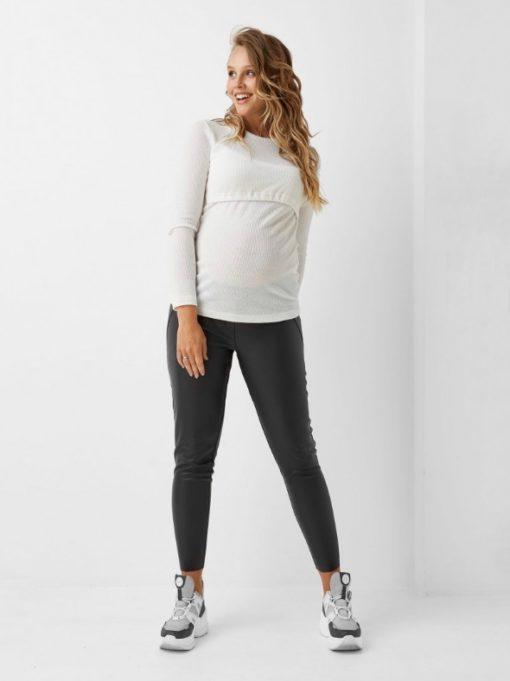 Черные леггинсы из эко-кожи для беременных Francine