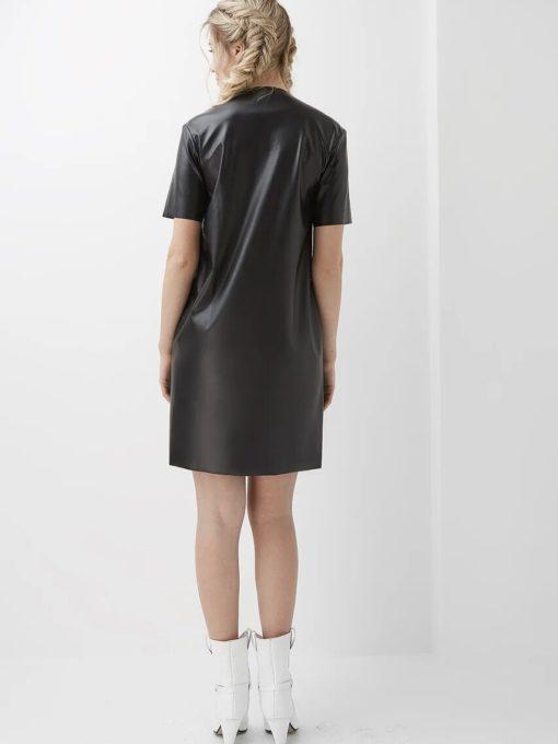 Черное платье-футляр из эко-кожи для будущих и кормящих мам Evi