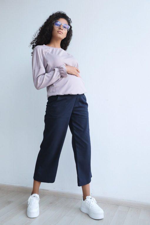 Синие брюки-кюлоты для будущих и кормящих мам Poppy