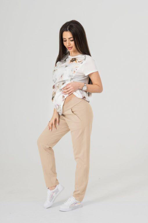 Бежевые брюки для беременных и кормящих мам Nikki