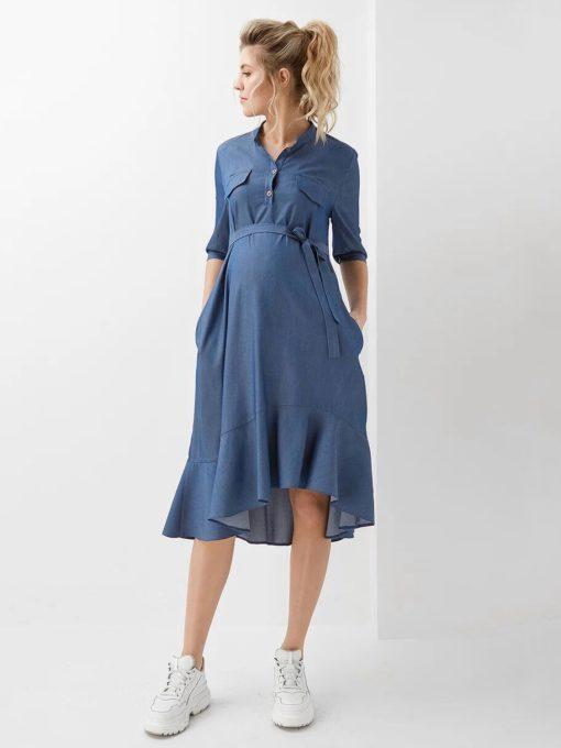 Синее платье для будущих и кормящих мам Kate
