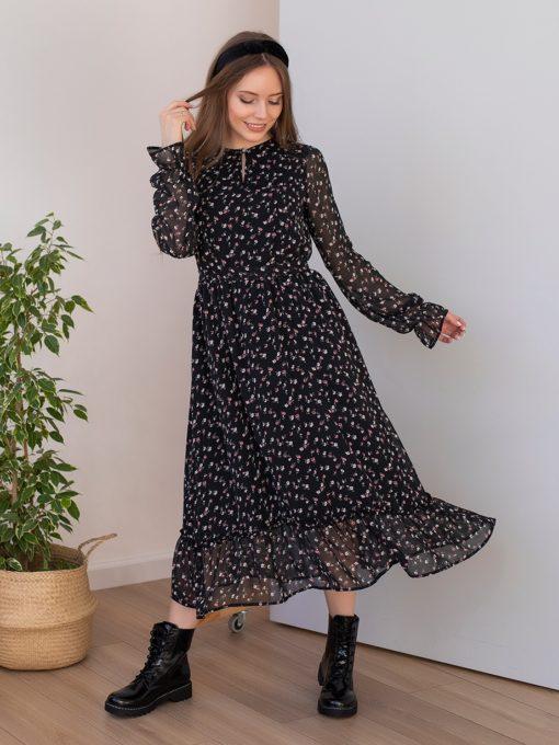 Черное платье для будущих и кормящих мам Valencia