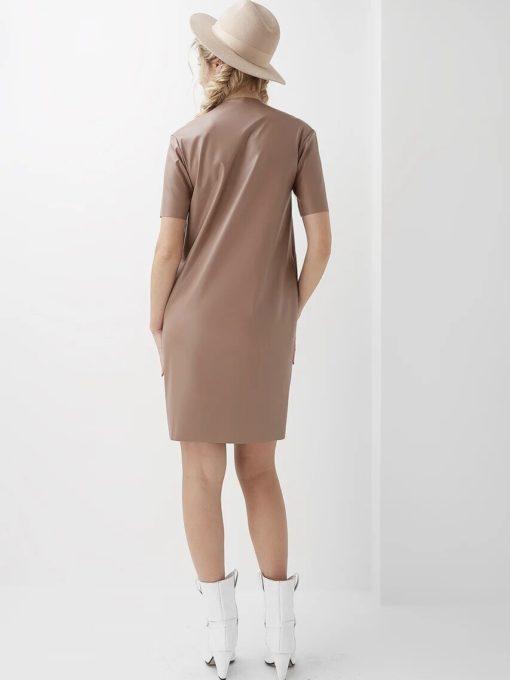 Бежевое платье-футляр из эко-кожи для будущих и кормящих мам Evi
