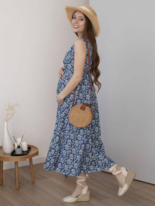 Голубое платье для будущих и кормящих мам Portofino