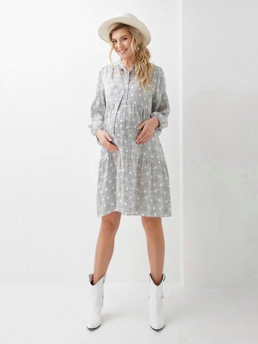 Серое платье с бантом для будущих и кормящих мам Georgia