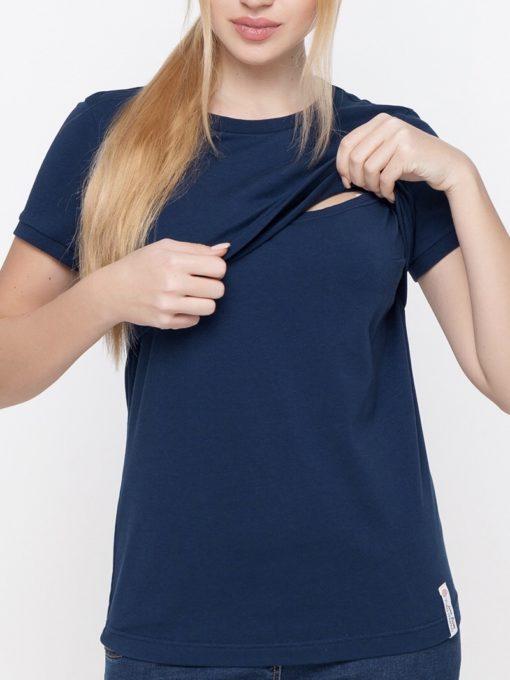 Синяя футболка для будущих и кормящих мам Margo