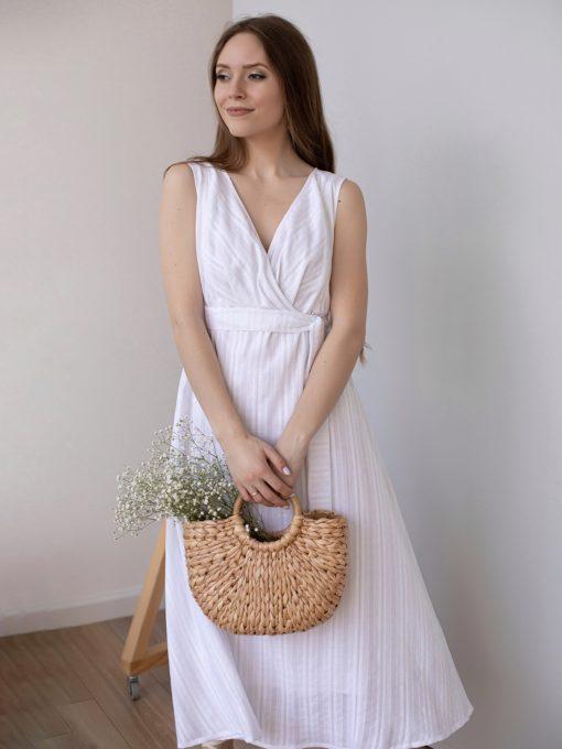 Белое платье для будущих и кормящих мам Portofino
