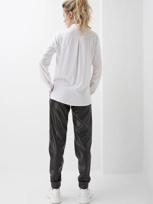 Черные брюки из эко-кожи для будущих и кормящих мам Ines