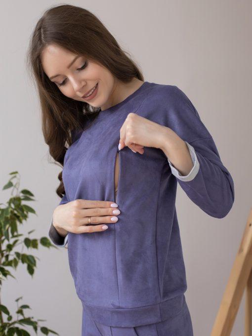 Сиреневый замшевый костюм для беременных и кормящих мам Laisa