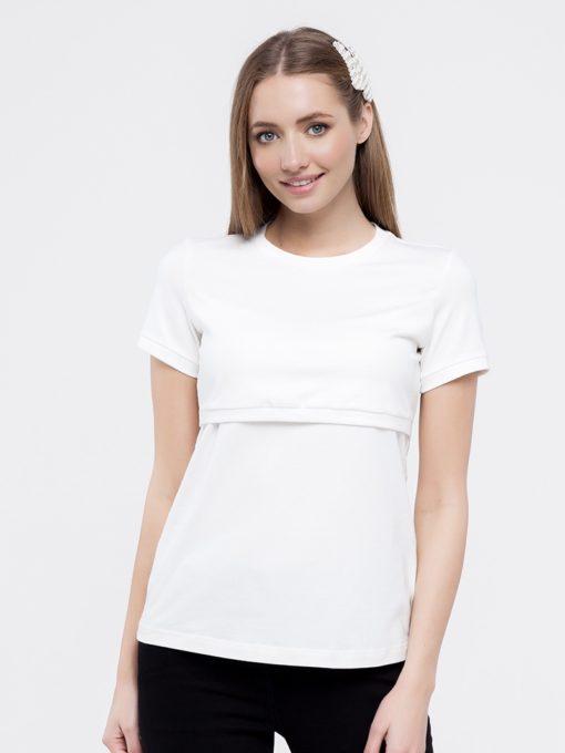 Белая футболка для будущих и кормящих мам Ashley