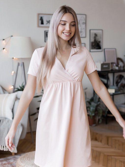 Персиковая сорочка для будущих и кормящих мам Alisa