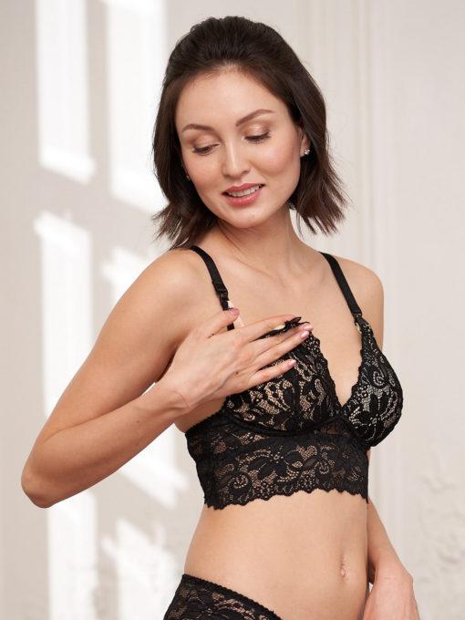 Черный бюстгальтер для беременных и кормящих мам Viki