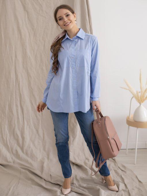 Голубая рубашка для беременных и кормящих мам Tessa