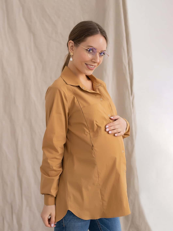 Карамельная рубашка для беременных и кормящих мам Tessa