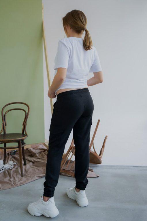Черные брюки-карго для будущих и кормящих мам Briana