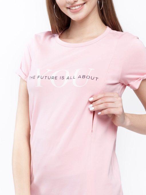 Розовая футболка с принтом для будущих и кормящих мам Donna