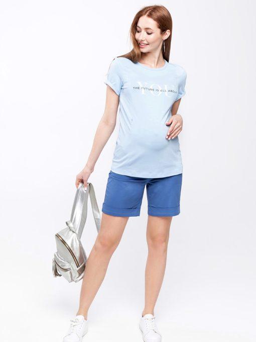 Голубые шорты для беременных и кормящих мам Mendie