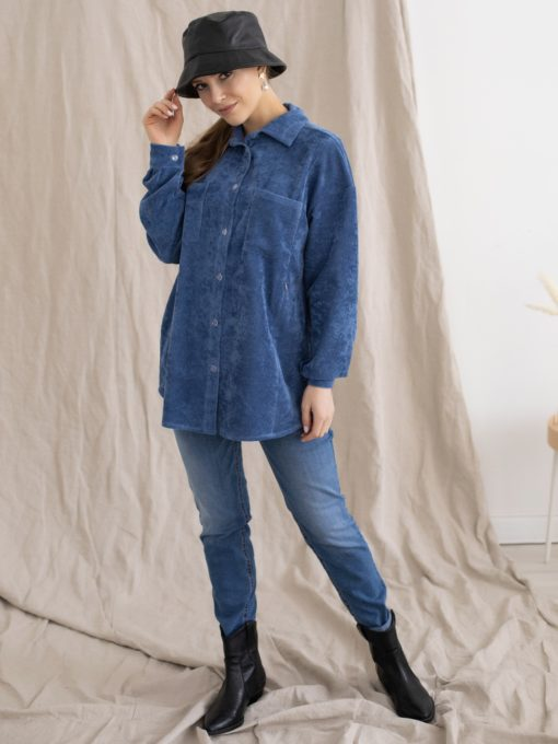 Голубая вельветовая рубашка для беременных и кормящих мам Fern