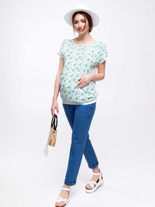 Голубые укороченные брюки для будущих и кормящих мам Melani