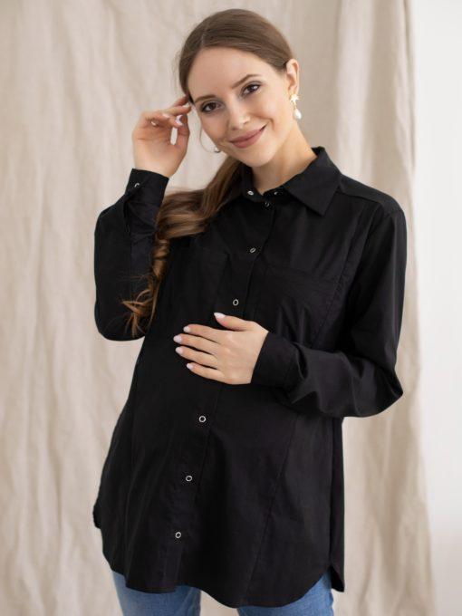 Черная рубашка для беременных и кормящих мам Tessa