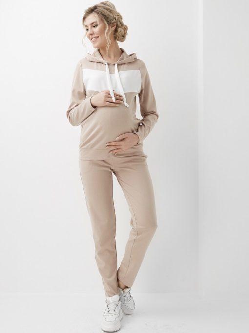 Бежевый костюм для будущих и кормящих мам Liberty