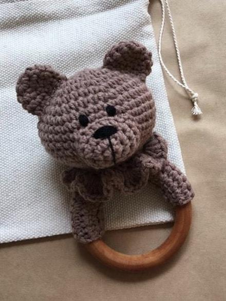 Кофейный эко грызунок-прорезыватель Мишка