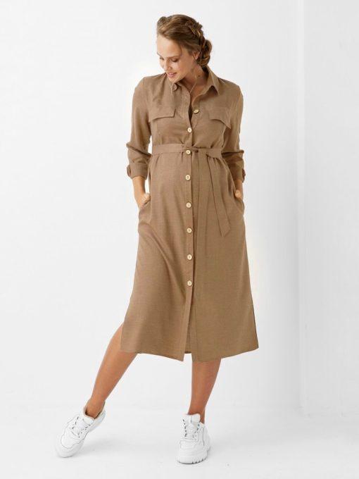 Бежевое платье-рубашка для будущих и кормящих мам Evita