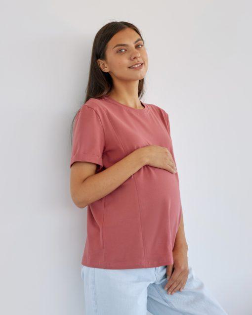 Терракотовая футболка для будущих и кормящих мам Astoria