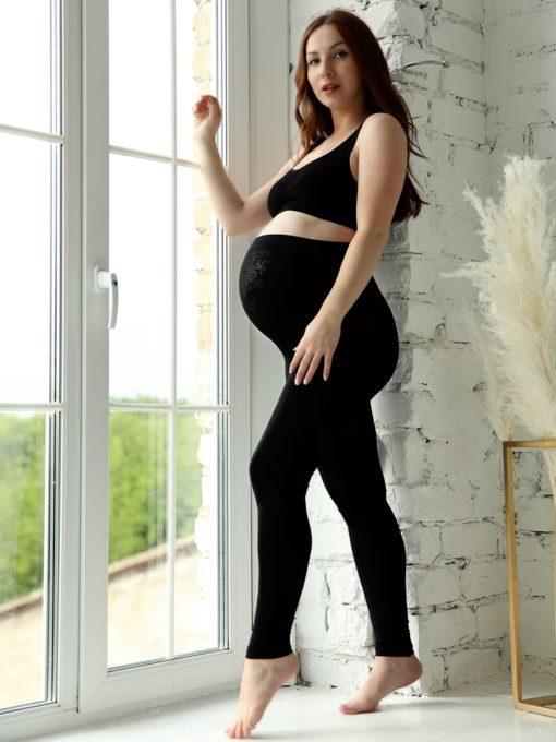 Бесшовные чёрные леггинсы для беременных и кормящих мам Tabata