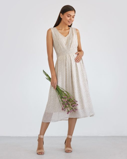 Бежевое платье для будущих и кормящих мам Merci Summer
