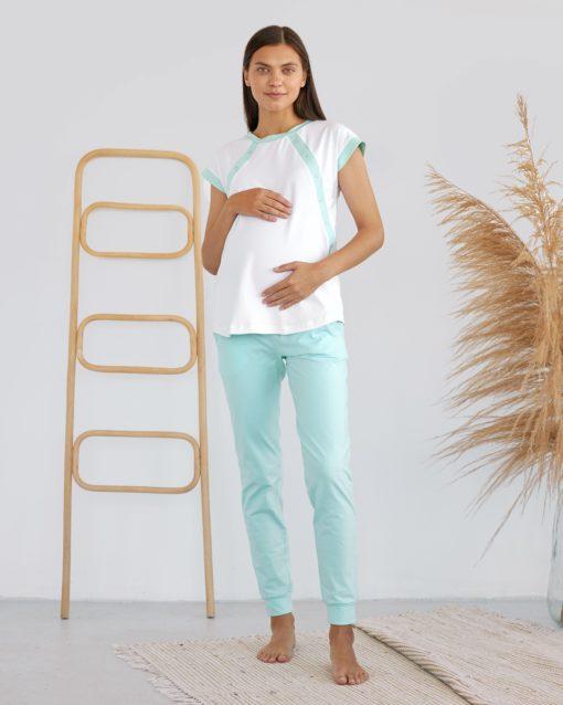 Мятный домашний костюм для будущих и кормящих мам Sunrise