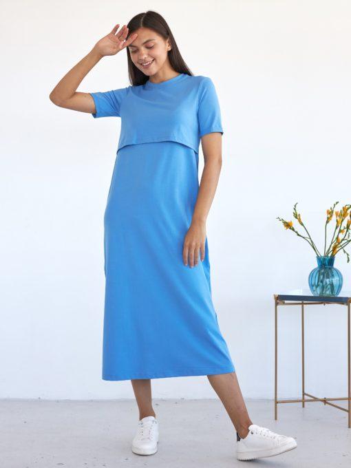 Голубое платье-футболка для будущих и кормящих мам Casual
