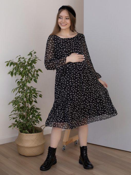 Черное платье для будущих и кормящих мам Vanilla