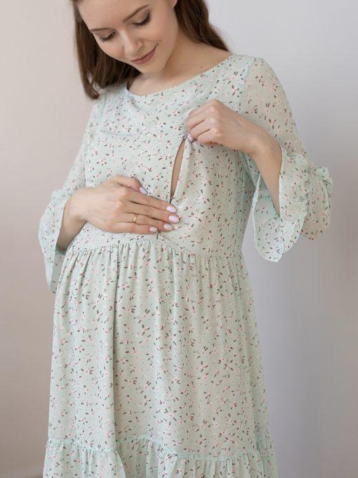 Мятное платье для будущих и кормящих мам Vanilla