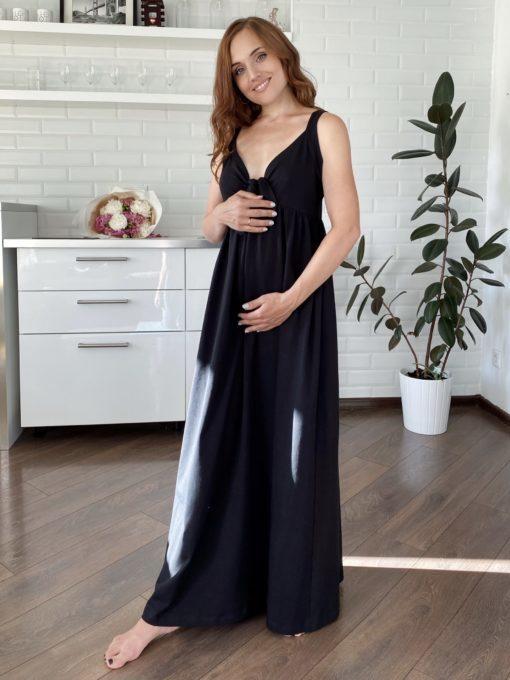 Черный сарафан для будущих и кормящих мам Rodos