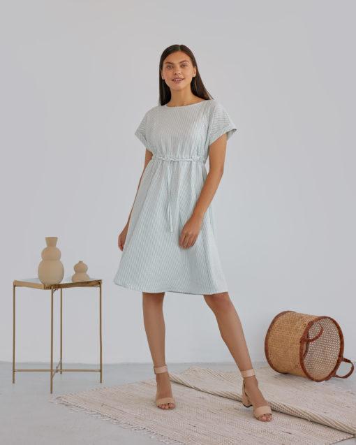 Мятное платье в полоску для будущих и кормящих мам Paulina