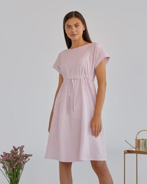 Розовое платье в полоску для будущих и кормящих мам Paulina