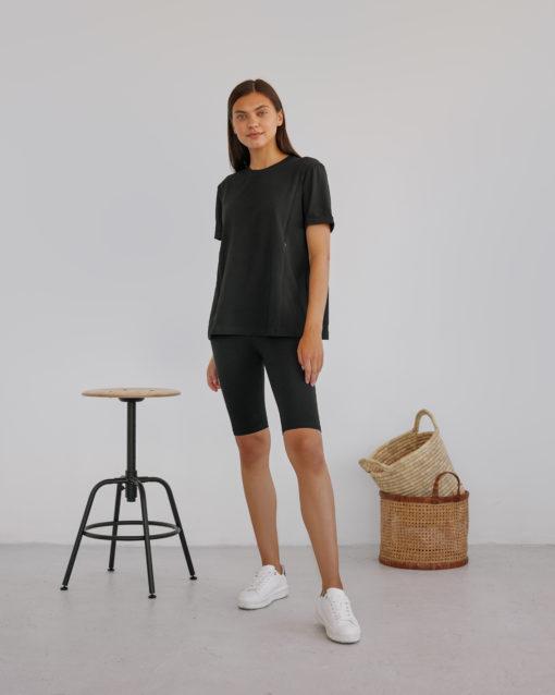 Черная футболка для будущих и кормящих мам Astoria