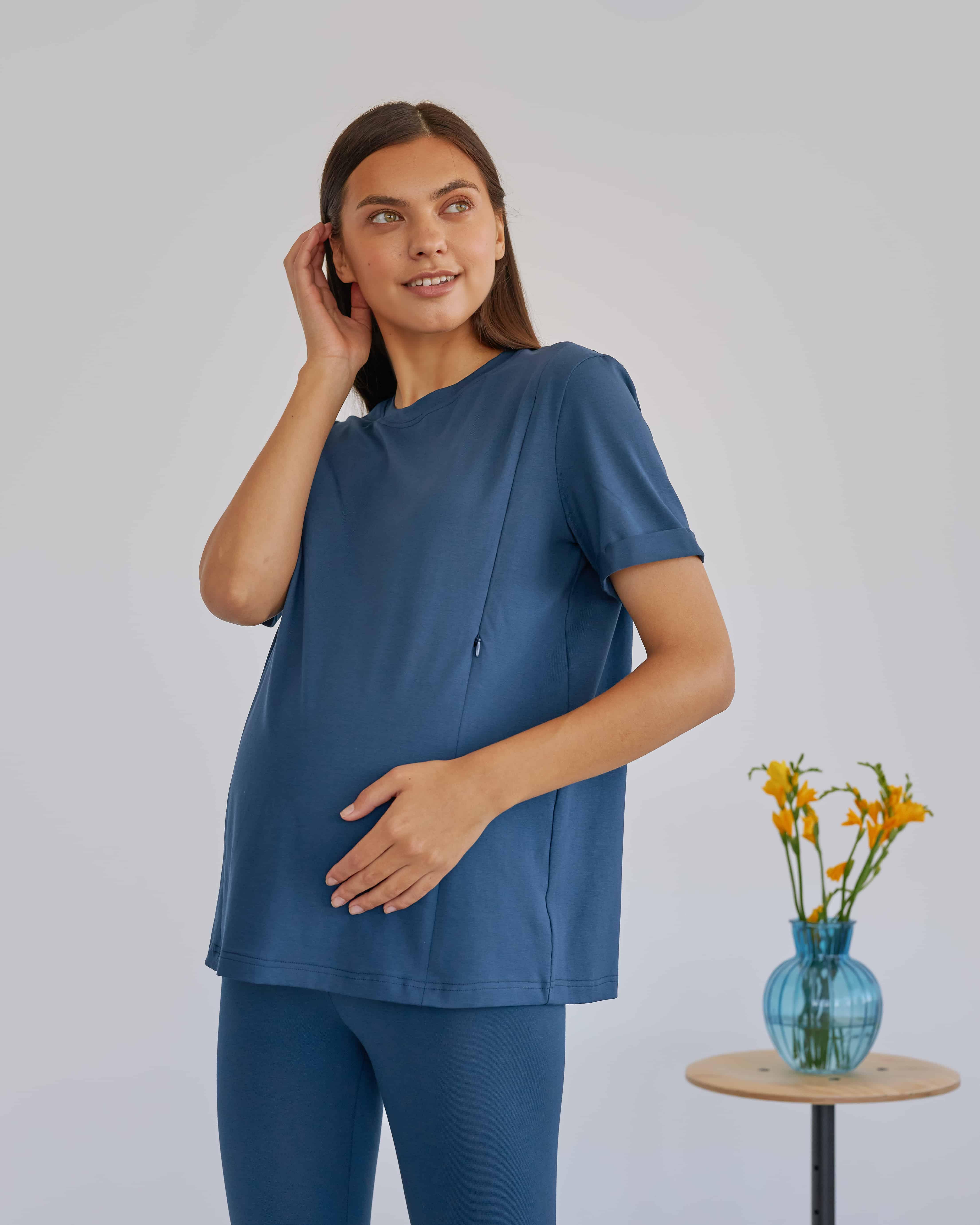 Синяя футболка для будущих и кормящих мам Astoria