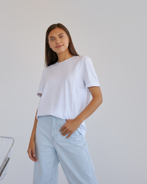 Белая футболка для будущих и кормящих мам Astoria