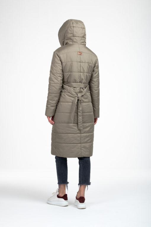 Оливковое зимнее пальто для беременных и кормящих Eva
