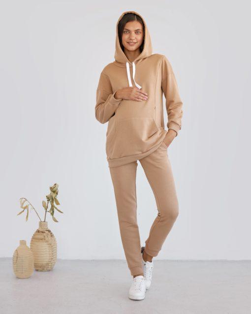 Бежевый костюм для беременных и кормящих мам Kendal