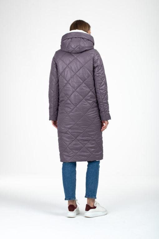 Пыльно-сиреневое зимнее пальто для беременных и кормящих Sofia