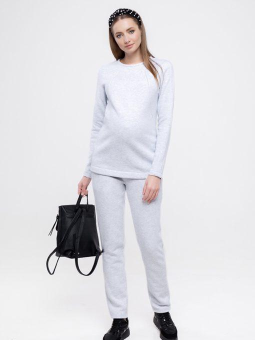 Серый теплый костюм для будущих и кормящих мам Halle