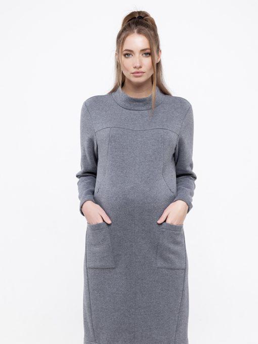 Cерое тёплое платье для беременных и кормящих Allix