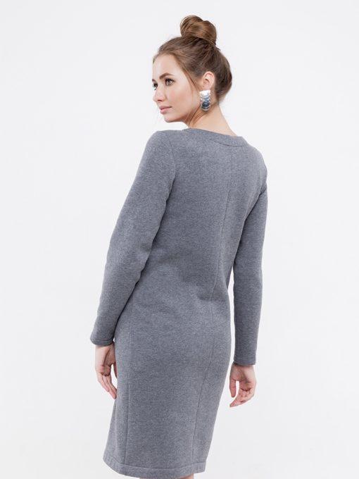 Серое тёплое платье для беременных и кормящих Denise Warm