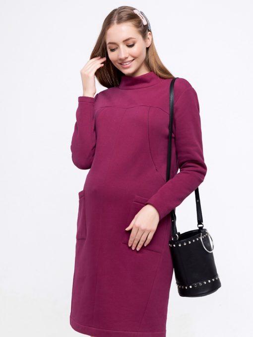 Вишневое теплое платье для беременных и кормящих Allix